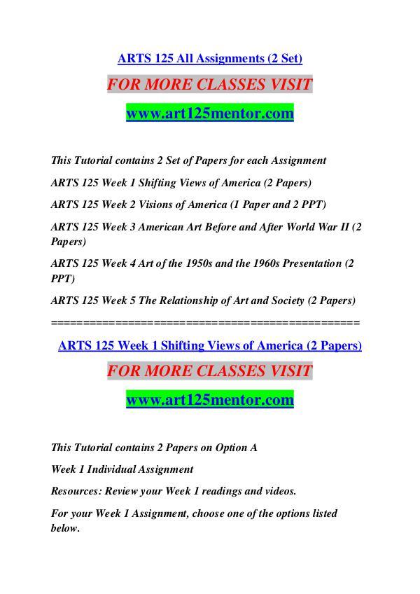 ART 125 MENTOR Keep Learning /art125mentor.com ART 125 MENTOR Keep Learning /art125mentor.com