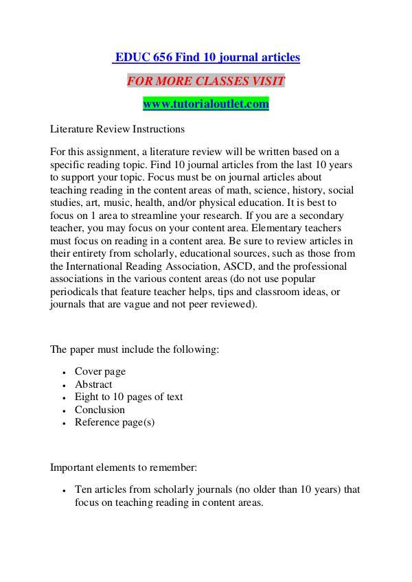 EDUC 656 FIND 10 JOURNAL ARTICLES/ TUTORIALOUTLET DOT COM EDUC 656 FIND 10 JOURNAL ARTICLES/ TUTORIALOUTLET