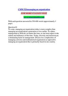CMM 521MANAGING AN ORGANIZATION/ TUTORIALOUTLET DOT COM