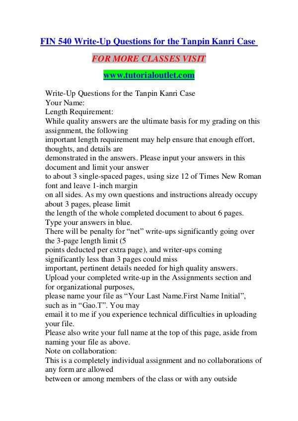 FIN 540 WRITE-UP QUESTIONS FOR THE TANPIN KANRI CASE/ TUTORIALOUTLET FIN 540 WRITE-UP QUESTIONS FOR THE TANPIN KANRI CA