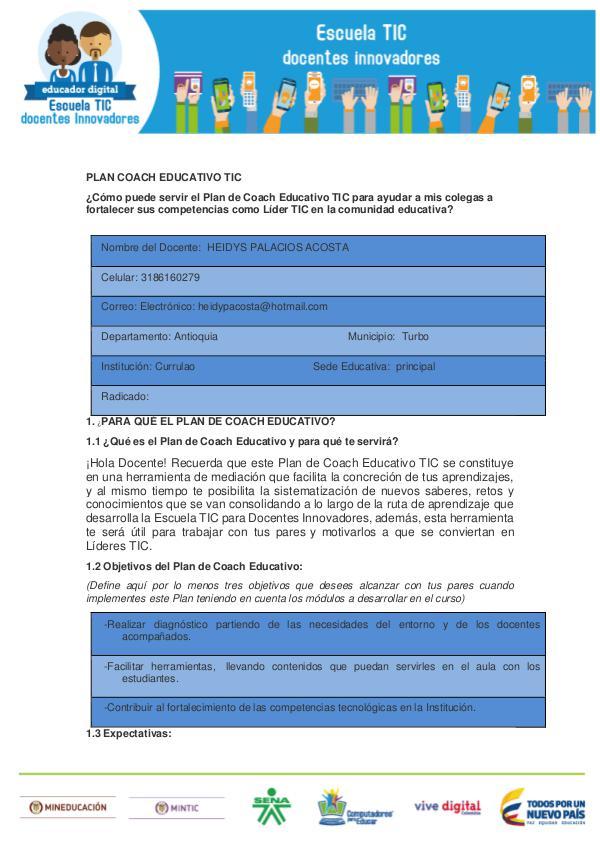 MI PLAN COACHIG EDUCATIVO TIC Plan Coach Educativo TIC HEIDYS PALACIOS