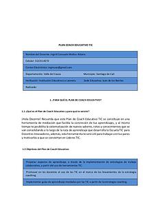 PLAN DE COACH EDUCATIVO TIC