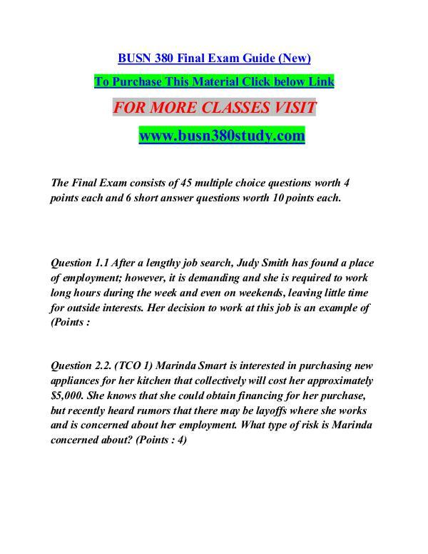 BUSN 380 study Great Stories/busn380study.com BUSN 380 study Great Stories/busn380study.com