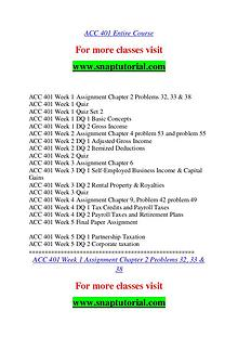ACC 401 help A Guide to career/Snaptutorial