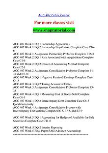 ACC 407 help A Guide to career/Snaptutorial