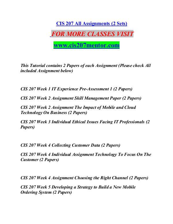 CIS 207 MENTOR Great Stories/cis207mentor.com CIS 207 MENTOR Great Stories/cis207mentor.com