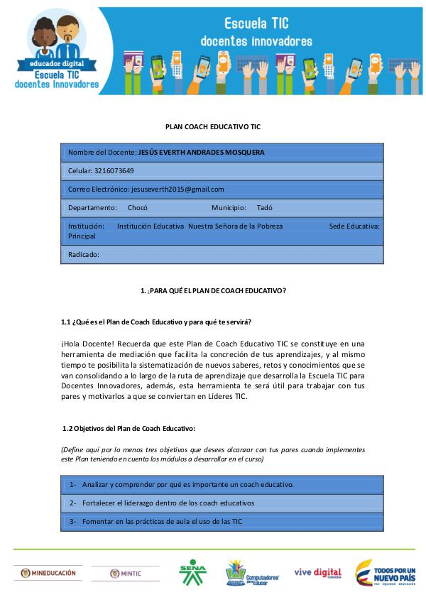 PLAN COACH EDUCATIVO TIC PLAN COACH EDUCATIVO TIC