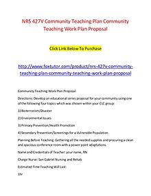 NRS 427V Community Teaching Plan Community Teaching Work Plan Proposa