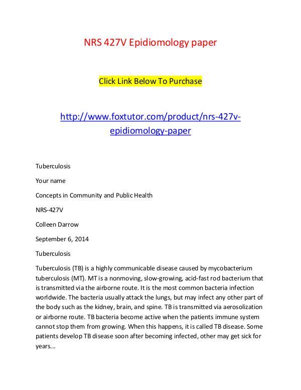 NRS 427V Epidiomology paper NRS 427V Epidiomology paper