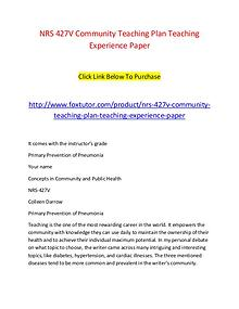 NRS 427V Community Teaching Plan Teaching Experience Paper