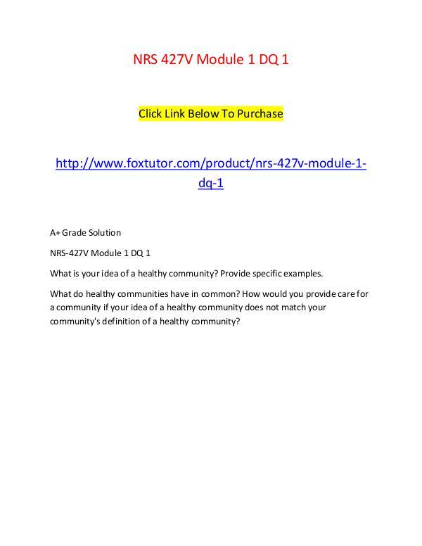NRS 427V Module 1 DQ 1 NRS 427V Module 1 DQ 1