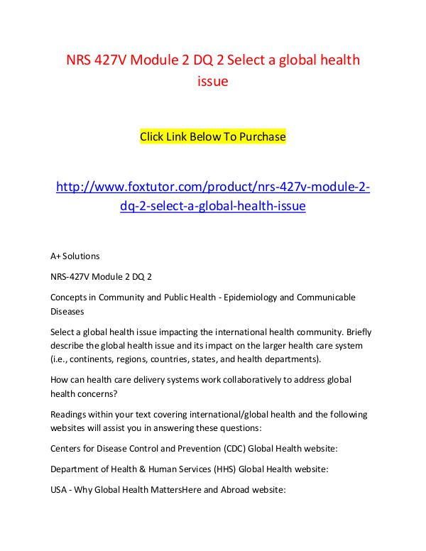 NRS 427V Module 2 DQ 2 Select a global health issue NRS 427V Module 2 DQ 2 Select a global health issu