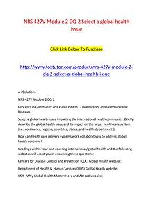 NRS 427V Module 2 DQ 2 Select a global health issue