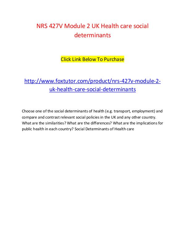 NRS 427V Module 2 UK Health care social determinants NRS 427V Module 2 UK Health care social determinan