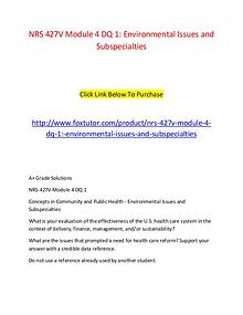 NRS 427V Module 4 DQ 1 Environmental Issues and Subspecialties