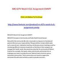 NRS 427V Week 4 CLC Assignment CMNTY