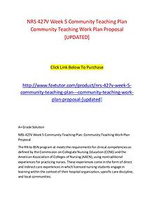 NRS 427V Week 5 Community Teaching Plan   Community Teaching Work Pla