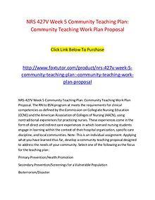 NRS 427V Week 5 Community Teaching Plan Community Teaching Work Plan
