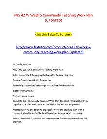 NRS 427V Week 5 Community Teaching Work Plan [UPDATED]