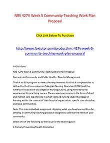 NRS 427V Week 5 Community Teaching Work Plan Proposal