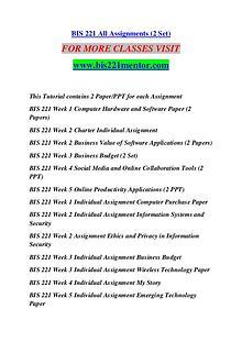 BIS 221 MENTOR Keep Learning /bis221mentor.com