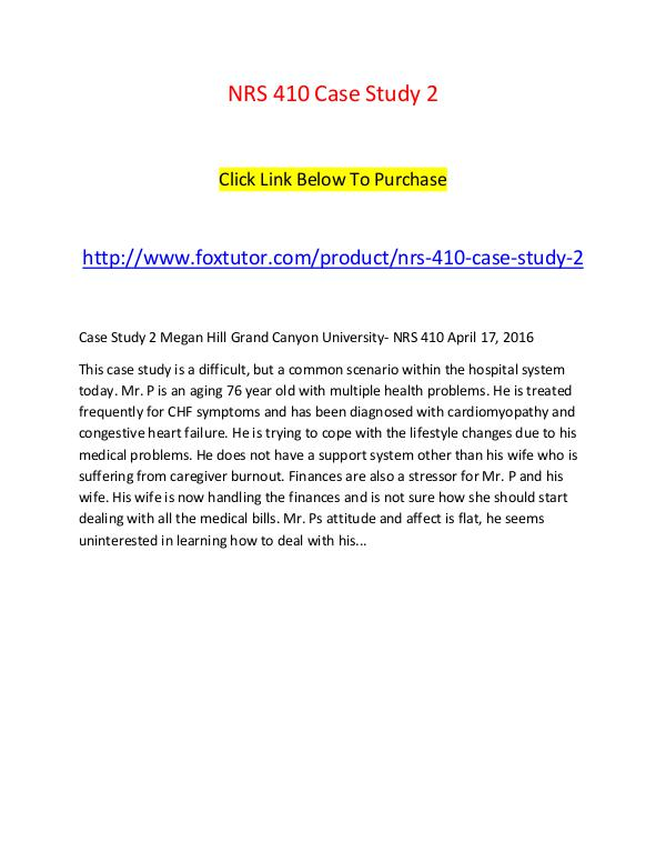 NRS 410 Case Study 2 NRS 410 Case Study 2