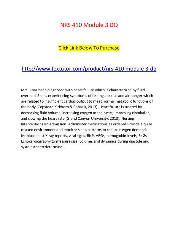 NRS 410 Module 3 DQ NRS 410 Module 3 DQ