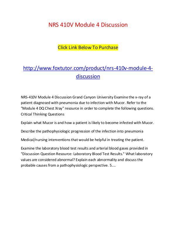 NRS 410V Module 4 Discussion NRS 410V Module 4 Discussion