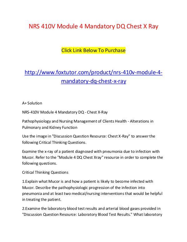 NRS 410V Module 4 Mandatory DQ Chest X Ray NRS 410V Module 4 Mandatory DQ Chest X Ray