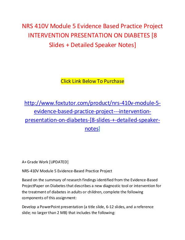 NRS 410V Module 5 Evidence Based Practice Project   INTERVENTION PRES NRS 410V Module 5 Evidence Based Practice Project