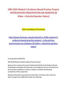 NRS 410V Module 5 Evidence Based Practice Project   INTERVENTION PRES