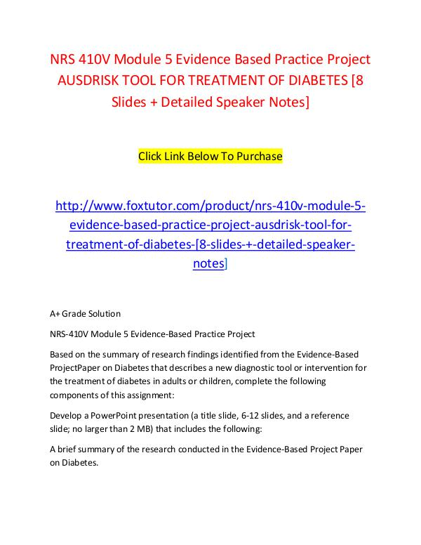 NRS 410V Module 5 Evidence Based Practice Project AUSDRISK TOOL FOR T NRS 410V Module 5 Evidence Based Practice Project