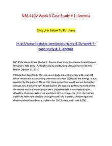 NRS 410V Week 3 Case Study # 1; Anemia