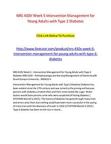 NRS 410V Week 5 Intervention Management for Young Adults with Type 2