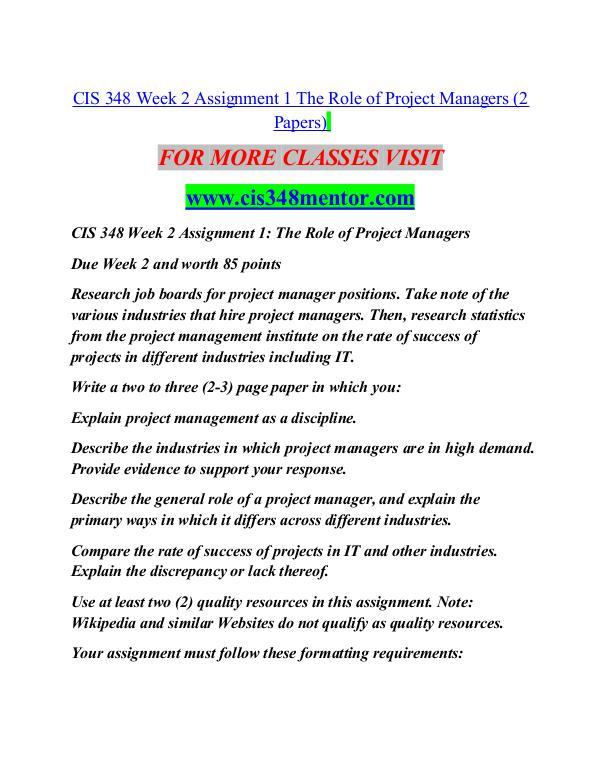 CIS 348 MENTOR Great Stories/cis348mentor.com CIS 348 MENTOR Great Stories/cis348mentor.com