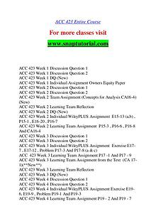 ACC 423 help A Guide to career/Snaptutorial