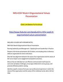 NRS 415V Week 4 Organizational Values Presentation