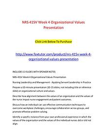 NRS 415V Week 4 Organizational Values Presentation