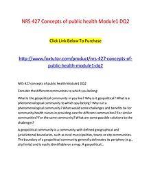 NRS 427 Concepts of public health Module1 DQ2