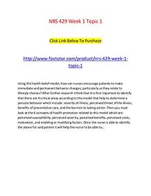 NRS 429 Week 1 Topic 1