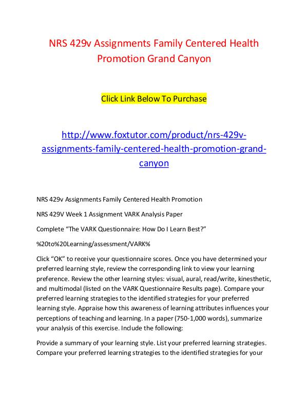 NRS 429v Assignments Family Centered Health Promotion Grand