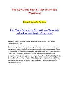 NRS 429V Mental Health & Mental Disorders (PowerPoint)