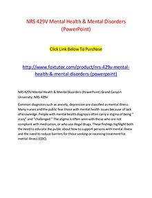 NRS 429V Mental Health & Mental Disorders (PowerPoint)