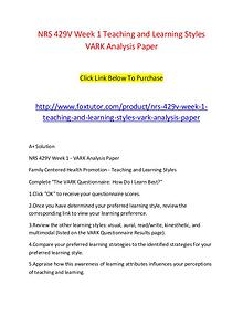 NRS 429V Week 1 Teaching and Learning Styles VARK Analysis Paper