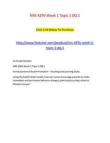 NRS 429V Week 1 Topic 1 DQ 1