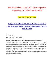 NRS 429V Week 2 Topic 2 DQ 1 According to the assigned article, Healt
