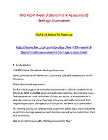 NRS 429V Week 3 (Benchmark Assessment) Heritage Assessment