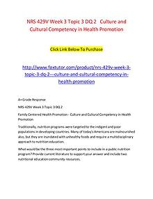 NRS 429V Week 3 Topic 3 DQ 2   Culture and Cultural Competency in Hea