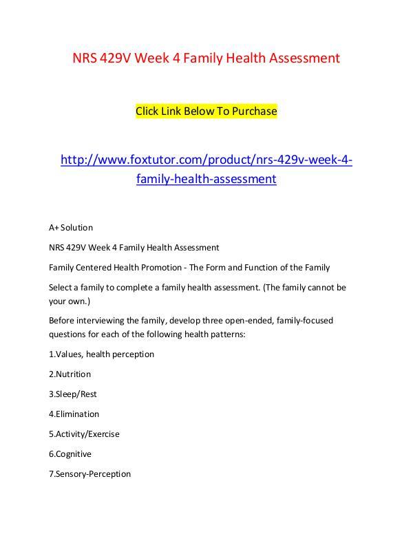 family health assessment
