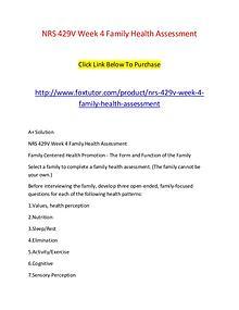 NRS 429V Week 4 Family Health Assessment